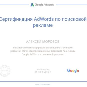 Сертификат Google AdWords по поисковой рекламе Гугл